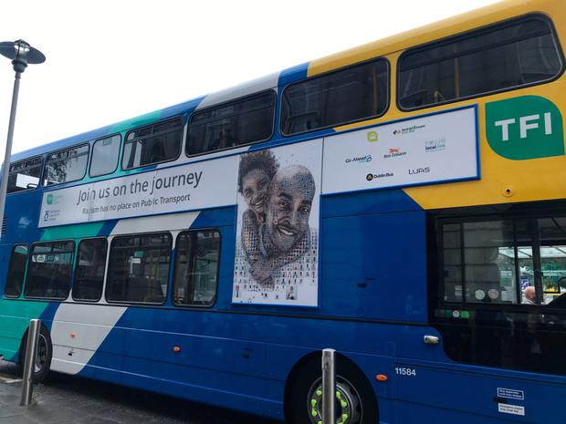 One of the buses featuring the new anti-racism campaign. Photo: PA