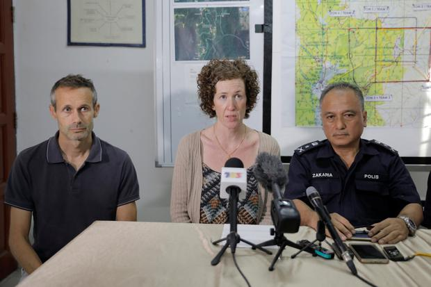 Nora's parents Sebastien and Meabh at a police press conference in Malaysia