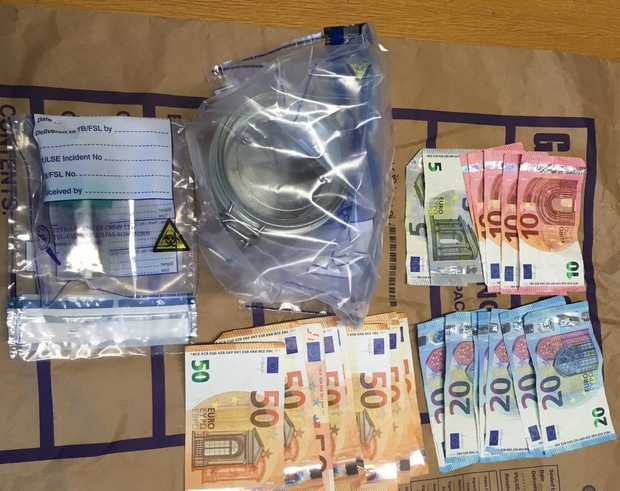 Some of the drugs and cash seized in the Coolock area