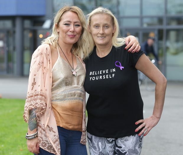 Rachael with Tracey Brennan at the launch of Ballymun Recovery Month, aiming to get people off drink and drugs