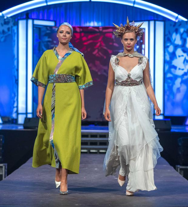 Niamh O'Leary wearing Christine De Vries and Áine Dwan wearing Alice Halliday. Shoes by Footprints Listowel