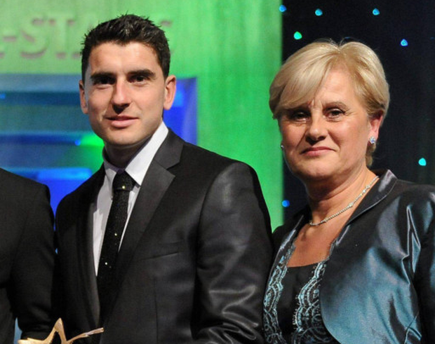 Bernard Brogan Jr, who hopes to play on Sunday, with mum Maria