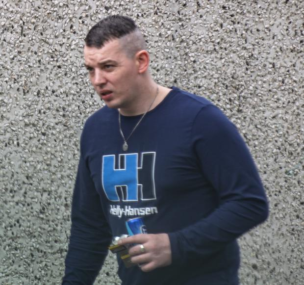 Violent criminal Leon Wright walks along the street in north Dublin after his release from prison last Friday