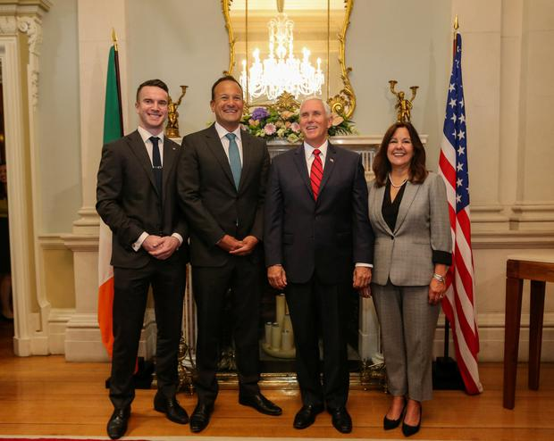 Leo Varadkar and his partner Matt Barrett with Mike Pence and wife Karen