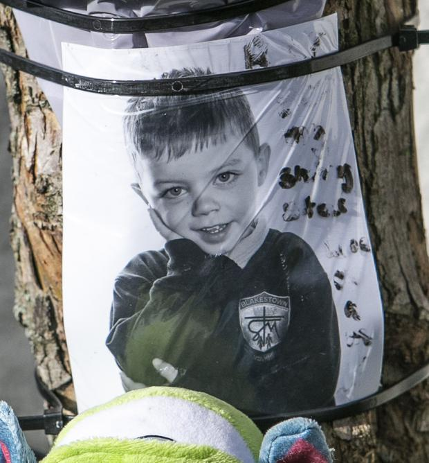 A tribute to Devin (7) close to the scene of the accident
