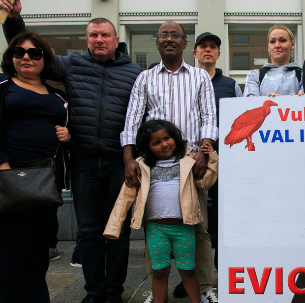 Residents threatened with eviction hold a protest outside the offices of vulture fund Val Issuer Dac on Molesworth Street
