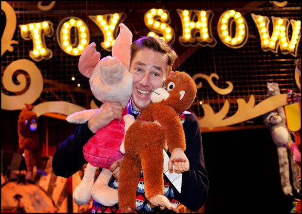 Ryan Tubridy, in his festive jumper and with two cuddly pals, will present the show for his 11th time this year