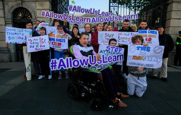 Conor Dillon (front) with other protesters outside the Dail