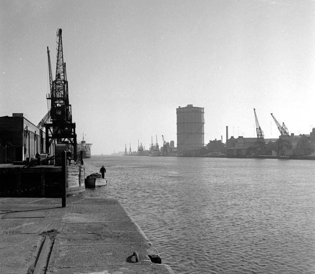 South Quays, cranes and gasometer in the 1970s