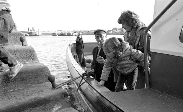 The final Liffey ferry crossing before the toll bridge opened in 1984