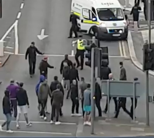 Gardai arrive just in time to stop a riot between fans of Shamrock Rovers and Bohemians in Tallaght earlier this year