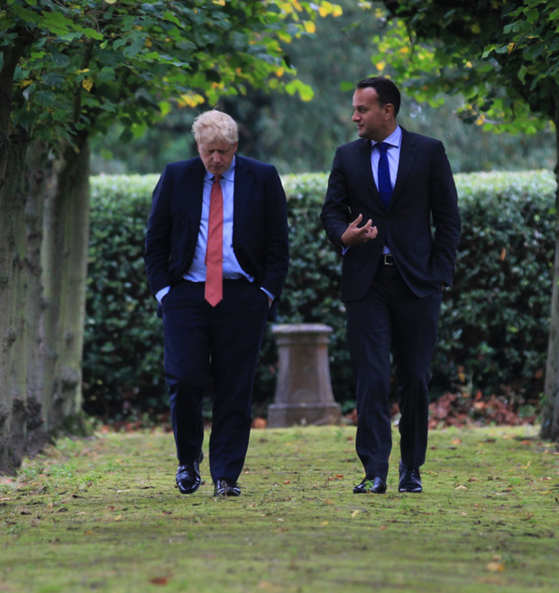 Boris Johnson and Leo Varadkar during their meeting at Thornton Manor Hotel
