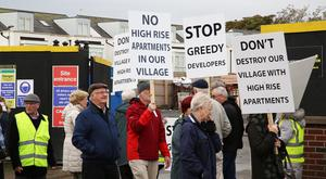 Protesters at the building site in Coolock