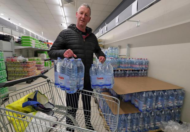 Matt Masterson from Leixlip stocks up on water at Lidl