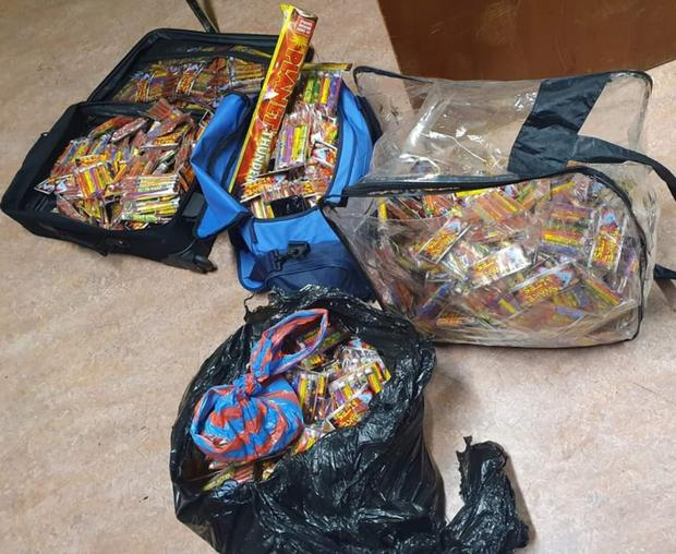 Some of the illegal fireworks seized by gardai