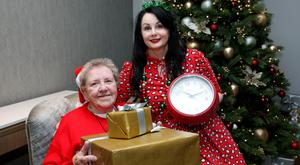 Alone ambassador Marian Keyes and Rosalyn Sheahan at the launch of the Make Your Minutes Count campaign. Photo: Maxwells