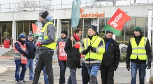 Protesting staff on the picket line outside the SK Biotek pharmaceutical plant in Swords. Photo: Gerry Mooney