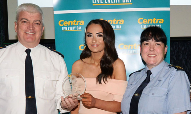Kate Mulhern with Chief Supt Fergus Healy and Gda Sabrina Murray