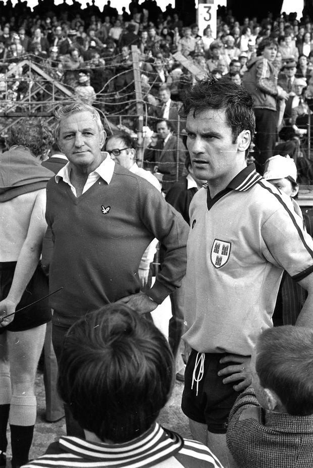 Kevin Heffernan the Dublin Manager and Tony Hanahoe during the Dublin v Kerry ( the winners ) 1979 All-Ireland final at Croke Park Sept.1979