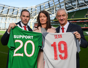 Martina Cox, the wife of Sean  was joined by former footballers Jason McAteer (left) and Ian Rush for the launch of the Liverpool Legends v Republic of Ireland Legends match