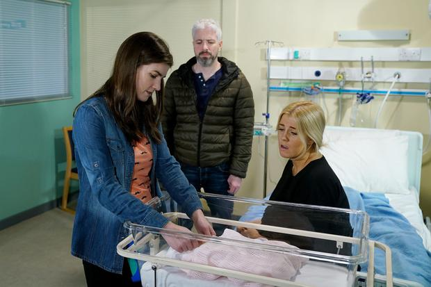 Laura and Dean visit Sash and baby Olivia in the hospital
