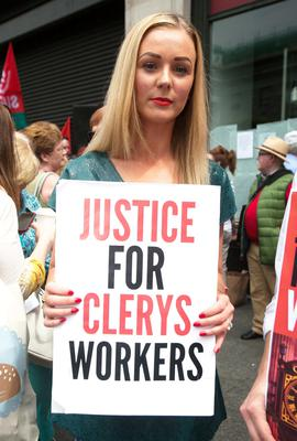 Karen Dunne from Finglas during a protest outside Clerys on O'Connell Street