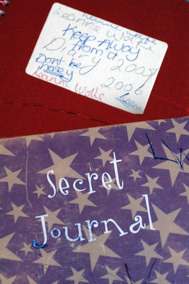 One of the diaries in which she recorded bullying
