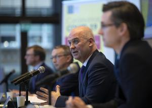 Chief Medical Officer Dr Tony Holohan speaking at a media briefing yesterday