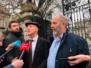 Independent TDs for Kerry, Michael Healy-Rae (left) and Danny Healy-Rae, speak outside Leinster House in Dublin after meeting with Sinn Fein, as efforts continue to form a Government. PA Photo