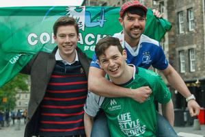 Brothers Andrew and Stephen Wallace with Connacht fan Eoghan O'Dwyer (Picture: Toby Williams)