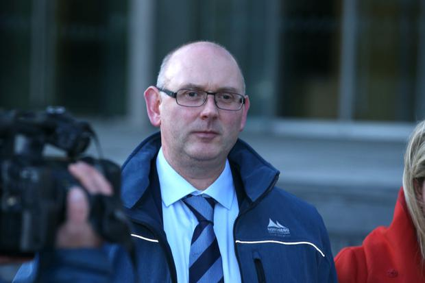 Garda Sean Lucey (pictured) has been found guilty of assaulting RTE cameraman Colm Hand during a street protest in 2016