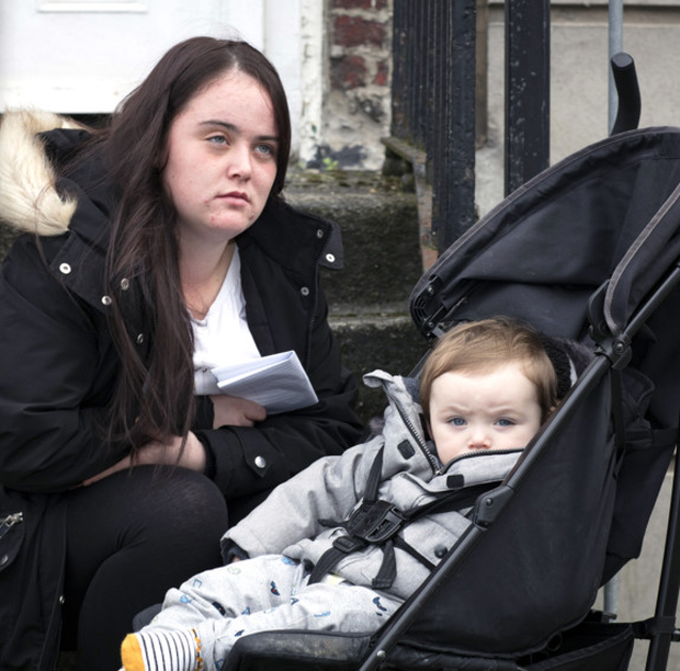 Homeless mum-of-two Chloe Sheridan with her son Brody-Lee (15 months). She wants a stable home for her kids