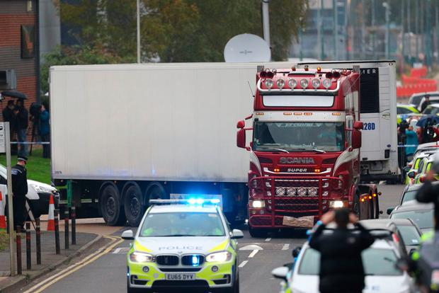The container lorry in which 39 people were found dead