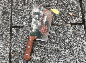 Blood-stained meat cleaver found at scene of the attack