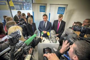 Environment Minister Alan Kelly with Irish Water chief John Tierney briefing the media