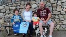 The Byrnes from Old Bawn, Tallaght, and members of Thomas Davis GAA.  Mick and Aideen with children Danny, 4, and Jenna 18 months, and their dog Woody. Tymon Park, Templeogue, Dublin. Picture: Caroline Quinn