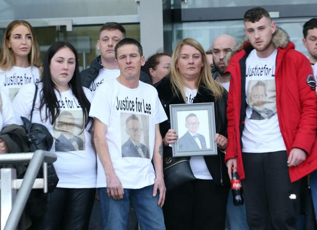 Paul Henry and other family members of Lee Henry (13) leave court after Dean Shelley was found guilty of dangerous driving causing death