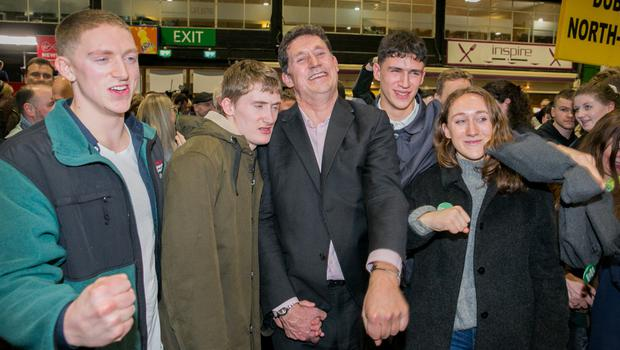 Eamon Ryan celebrates at the count in the RDS
