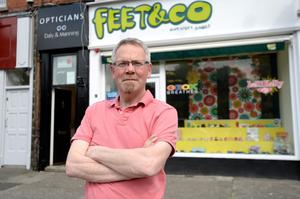 Noel Cocoman owner of Feet and Co. shoe shop in Drumcondra Dublin.