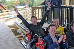 Comedian Jason Byrne pictured on the Cu Chulainn roller coaster at the opening of the new Cu Chulainn Coaster at Tayto Park, Co. Meath this morning. The coaster is Europe's largest wooden rollercoaster with an inversion