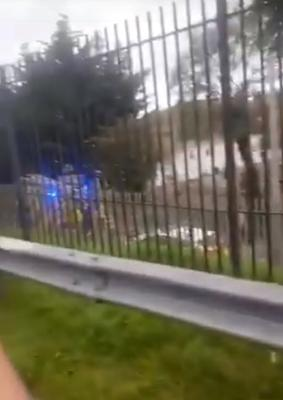Gardaí and emergency services at the scene of                     the 'face-off' between rivals