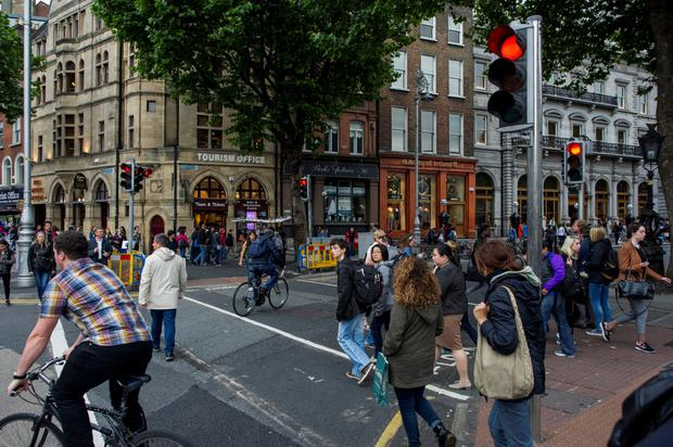 At least 22 cyclists broke the new rules within a 30-minute period on College Green on the first day of the fines