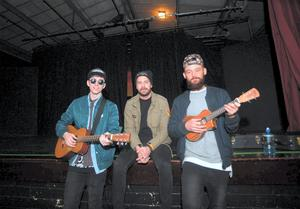 Original Rudeboys (l-r; Sean Walsh, Robert Burch and Sean 'Neddy' Arkins) perform to students in Mount Temple as part of 'Walk In My Shoes' campaign for mental health awareness in young adults. Mount Temple school, Malahide road, Dublin