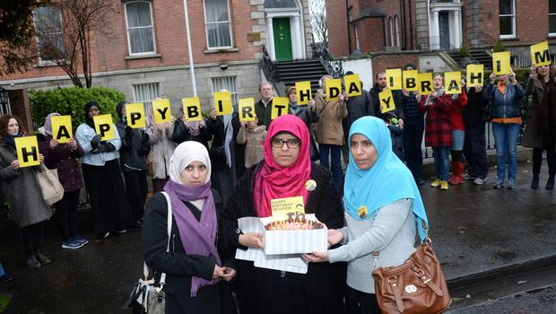 Supporters of Ibrahim Halawa mark his 20th birthday outside the Egyptian embassy. At front are his sisters Somaia, Fatima and Omaima
