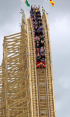 Cu Chulainn Coaster at Tayto Park launch. Pictured are members of the press and guests at the launch of the Cu Chulainn Coaster at Tayto Park, Ashbourne, Co. Meath