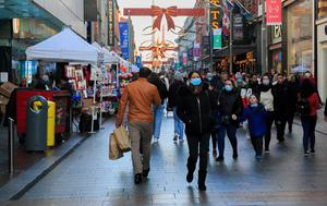 Shoppers on Henry Street in Dublin yesterday as they gear up for Christmas