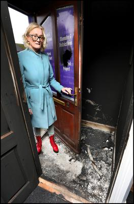 Councillor Sharon Keogan at her offices in Duleek, Co Meath, which were targeted in an arson attack