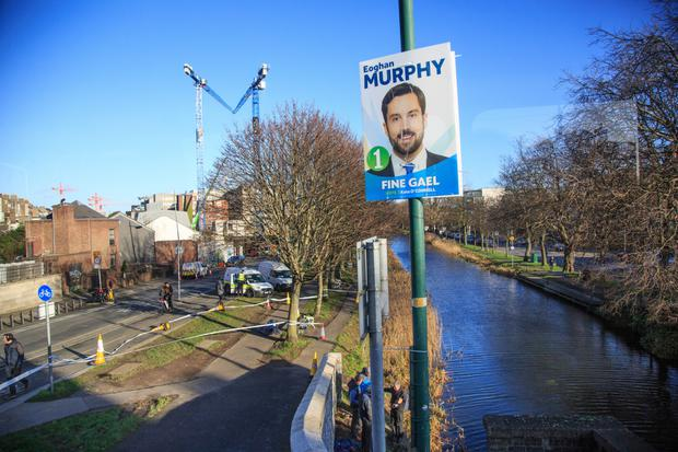 Eoghan Murphy's election campaign poster close to the scene of the incident, which has now been taken down. Photo: Mark Condren
