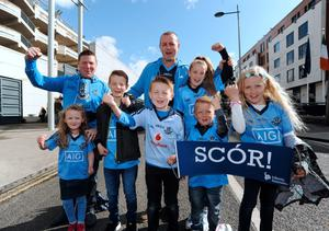 Dublin fans pictured after the matches: Tom Kendellen, back left, from Marino, with daughter Sarah, 5, front left. Jason McGrath, centre back, from Finglas, with his children Adam, front 2nd from left, Shane, 7, front centre, and Kelly, 11, back right, and their cousins Mya Breen, 10, front right, and her brother Sam, 7, front 2nd from right.