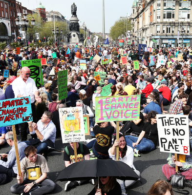 Extinction Rebellion's sit-down protest on O'Connell Bridge